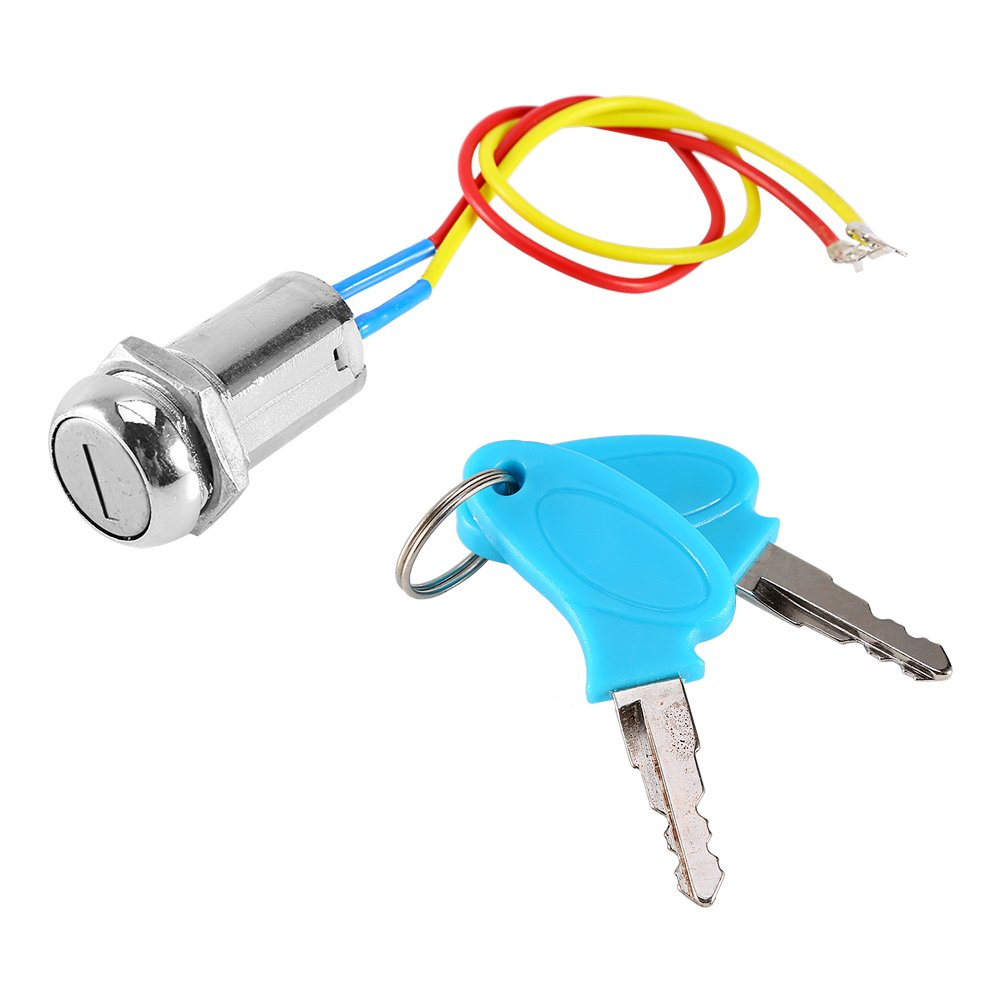 2 Wire Ignition Key Switch Lock, Keenso Motorcycle Ignition Starter SwitchUniversal for Scooter, AVT, Karting, Folding bicycles, Electrombile