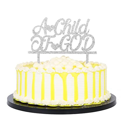 Amazon Com Palasasa Silver Acrylic A Child Of God Cake Topper For