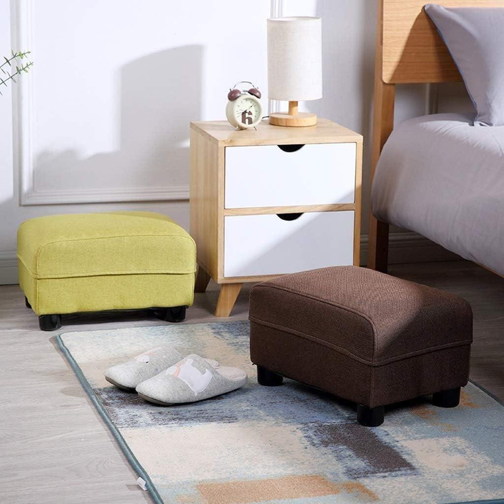 CRRQQ Lagerung Hocker Hocker Holzbock Rechteck Polster Footchair Startseite Pouffe Stuhl Couch Hocker Hocker (Color : Purple) Brown