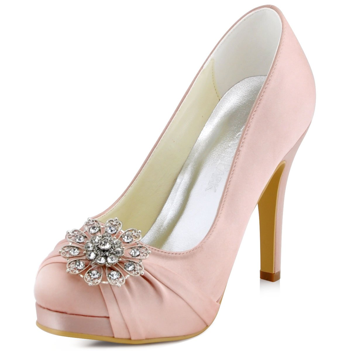 Elegantpark EP2015 Women's Evening Pumps Buckle High Heel Platform Satin Wedding Bridal Shoes