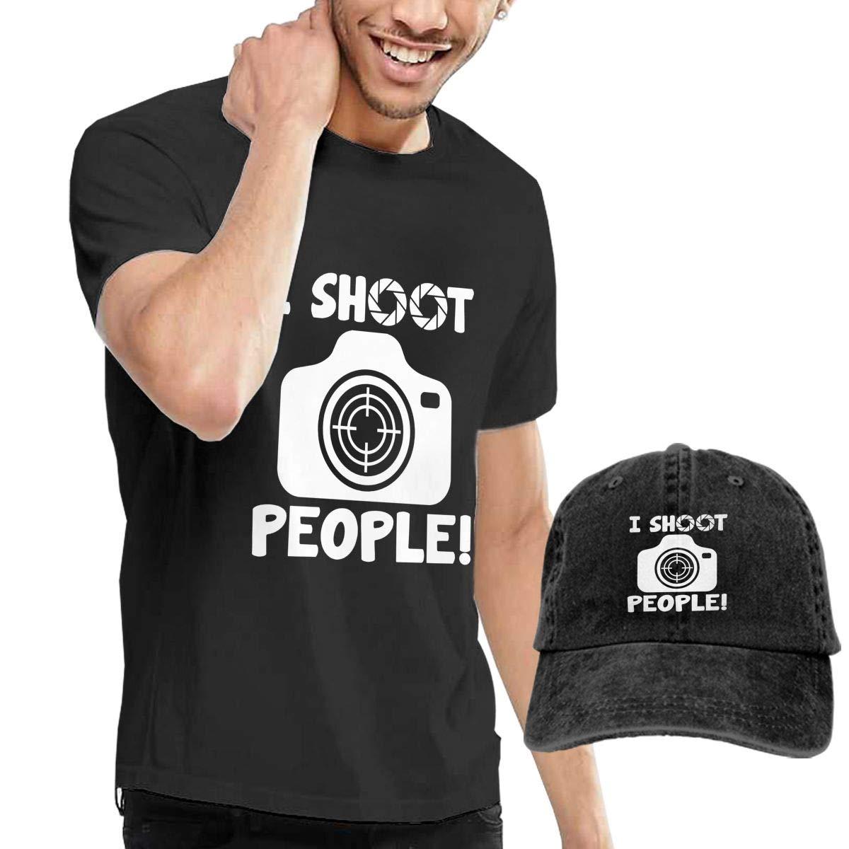 0f23c2b0 Black I SHOOT PEOPLE Mens ShortSleeve Shirt Jerseys And Denim Denim Denim  Cap Combo Set c0fde4