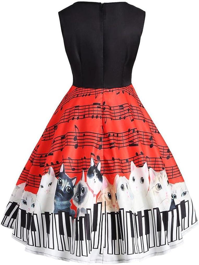 E-Scenery Sleeveless V-Neck Vintage Lace Dresses 2019 New Womens Cat Musical Note Dress
