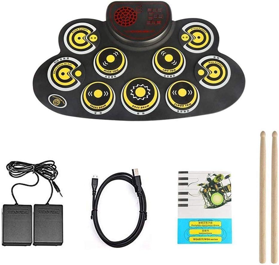 Zixin Batería electrónica, portátil Conjunto de Tambor eléctrico, Plegable Laminado Pedal Arriba electrónica Drum Set Pad con Altavoz Principiante Adulto Niño Adolescente Dos pies