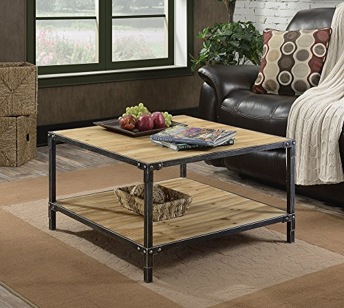 Convenience Concepts Laredo Coffee Table, Natural & Black - Laredo collection Fir wood and metal Construction Bottom shelf for additional display - living-room-furniture, living-room, coffee-tables - 61hNcnfUwmL -