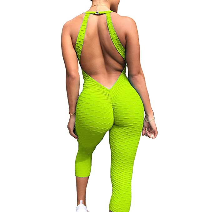 7fdde53edff48 Amazon.com: Meet Nice Womens Sport Yoga Jumpsuit Ruched Butt Lifting  Sleeveless Backless Romper Playsuit (XL, Green): Clothing