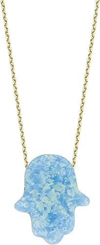 DiamondJewelryNY Silver Pendant Blue Opal Hand of God Necklace