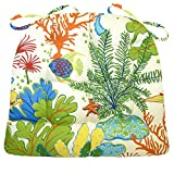 Medium Patio Chair Cushion -Tropical Fish -Indoor/Outdoor: Mildew/ Fade Resistant - Reversible,Tufted Latex Foam Fill, U Shaped, Box Edge Chair Pad - Outdoor Replacement Cushion with Ties