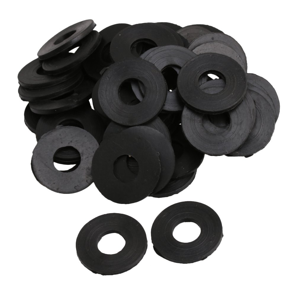 RDEXP 25x12x2mm Black Rubber Round Shape Gaskets Flat Rubber Washer Sealing Rings for Automotive Plumbing Set of 50 RDEXPAM