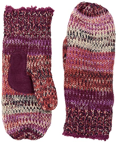 Isotoner Women's Chunky Cable Knit Sherpasoft Mittens, Wild Rose, One Size