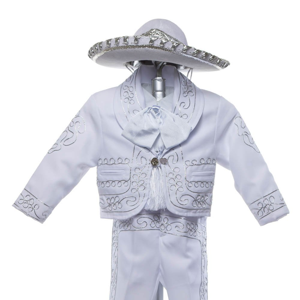 Boys Charro, Boys Cotton Guayabera, Boys Baptism, Charro, Boys, Mexican Wedding Shirt, Guayaberas, Baptism outfit, Mens Charro (3 Year, White)