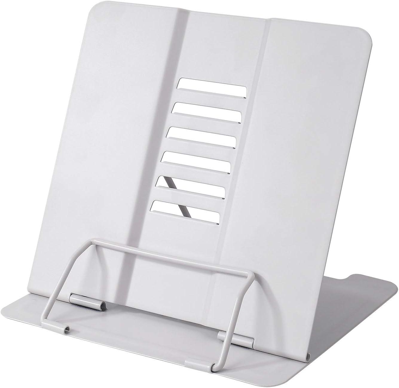 Soporte para Lectura de Libros de Cocina con 6 ángulos Ajustables y Clip de Papel, Estantes de Exhibición de Metal para Recetas, Libros de Texto, Documentos, Libros de Música