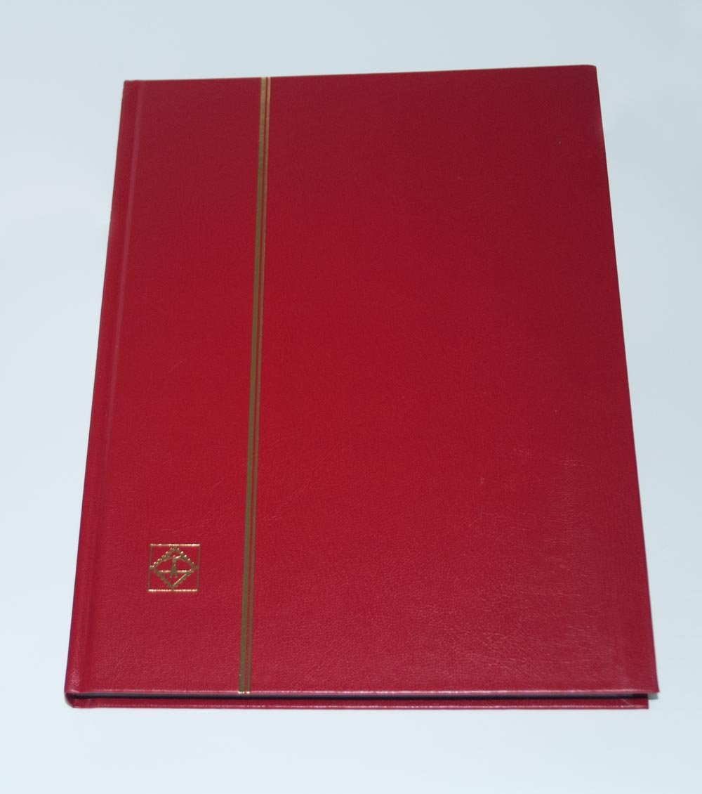 Lighthouse Stockbook DIN A4 non-padded cover red 32/Black pages