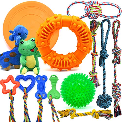 Dog Chew Toys for Puppies Teething, Super Value 14 Pack Puppy Toys for Small Dog Toys Squeaky Toys for Dogs Rubber Ball…