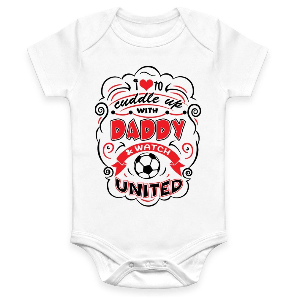 Coco Rascal Baby Boy Girl Cuddle Daddy Manchester Footie Man United MUFC Football White Bodysuit Grow Vest (0-18 Months)