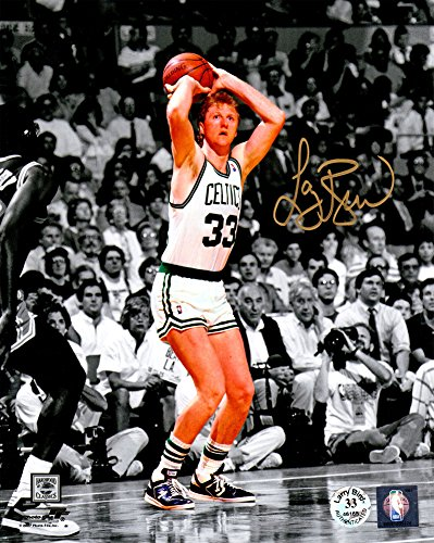 Larry Bird Signed Boston Celtics Jump Shot Spotlight 8x10 Photo - Certified Authentic