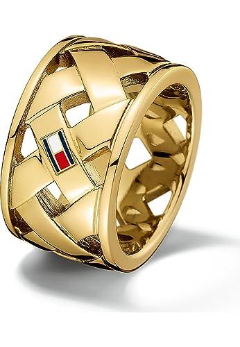 eac797b6b Tommy Hilfiger Basket Weave Gold Ring TJ2701024C (maat 54): Amazon.co.uk:  Jewellery