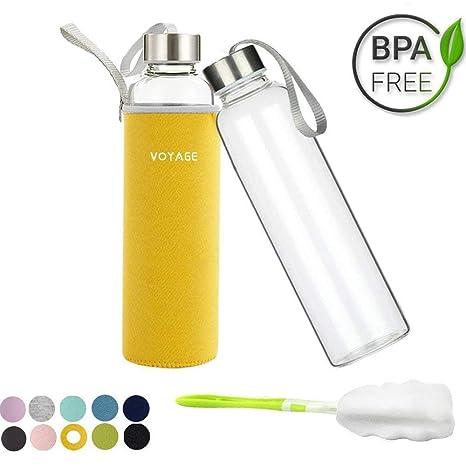 VOYAGE Botella de Agua Cristal 550ml, Botella de Agua Reutilizable 18 oz, Sin BPA
