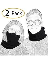 Fleece Neck Warmer for Men Ski Neck Gaiter Cover face mask Winter (2 Pack)