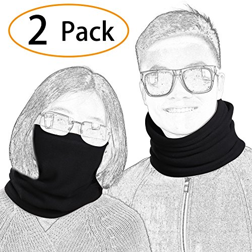 2 Pack Fleece Winter Neck Warmer For Men Women Ski Neck Gaiter Cover Face Mask