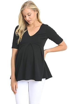 0775493f91f9f Hello MIZ Women's Maternity Peplum Blouse Top with Empire Waist Pleat  (Black Solid, ...
