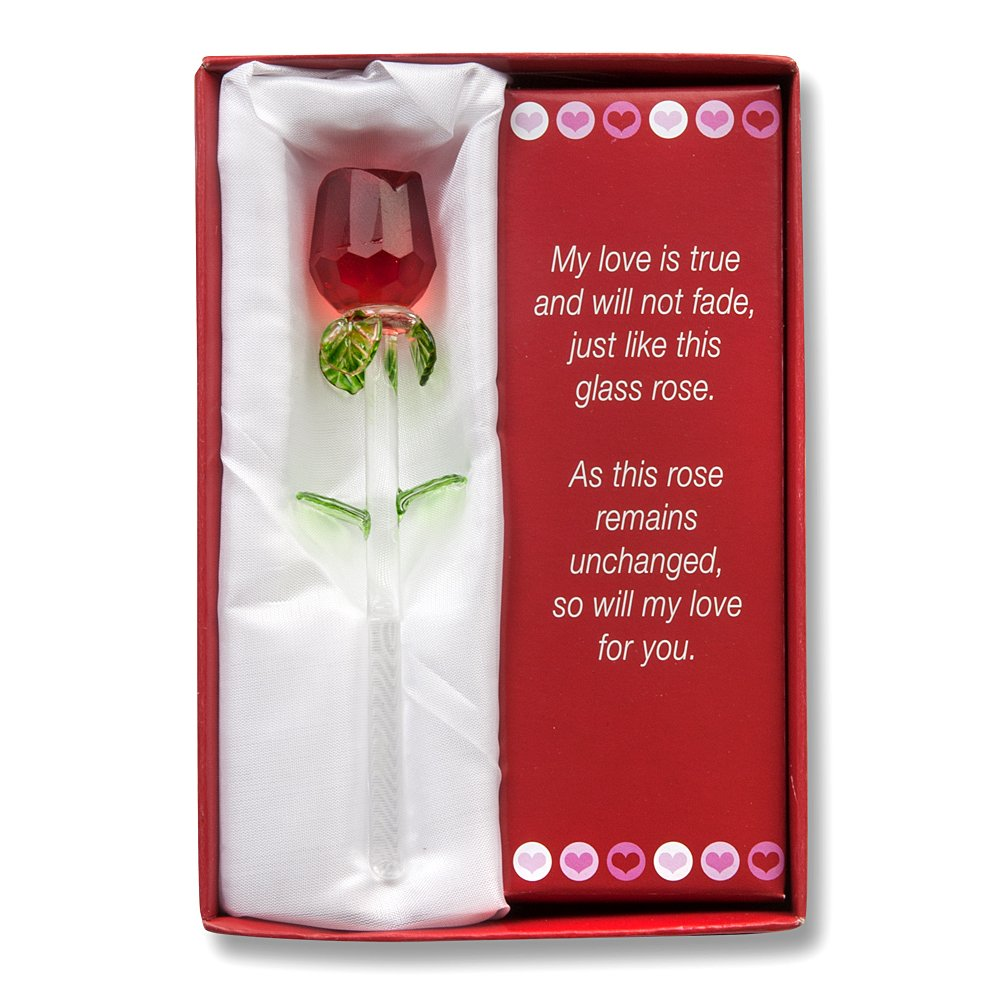 amazoncom glass rose valentine gift set show your love with this handmade glass rose with love poem special packaging to avoid breakage