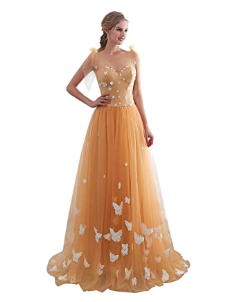 iLovewedding A_Line Prom Dresses White Appliques Gold Tulle Evening Gowns Long