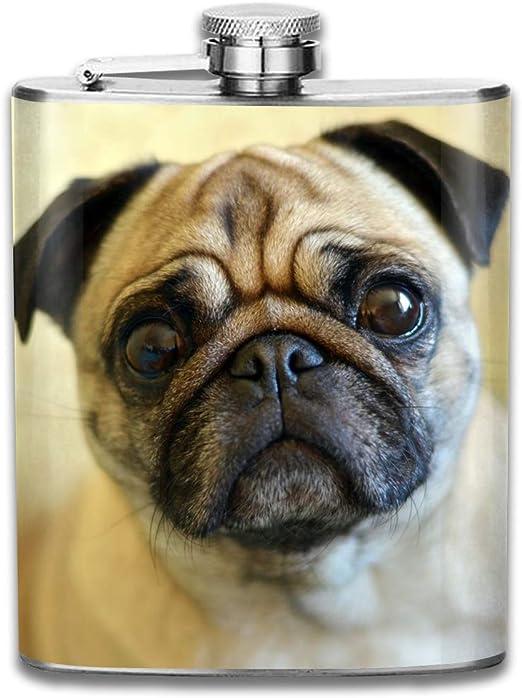 Pug Dog 6oz Stainless steel Hip Flask with Presentation Box
