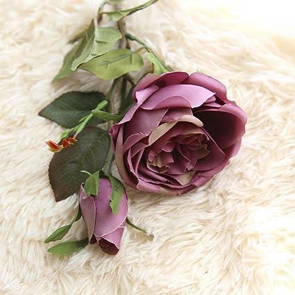 Vovomay Flores Artificiales Hoja, Flores Falso Seda Rosas Reales Vintage Floral - Ramo de Boda