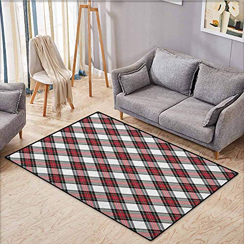 Outdoor Patio Rug,Tartan,Traditional Plaid with Diagonal Lines and Rhombuses Scottish Culture Inspirations,Anti-Slip Doormat Footpad Machine Washable,5'3