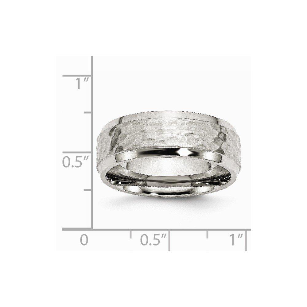 Stainless Steel Wedding Band Ring Beveled Comfort Hammered Polished 8 mm Beveled Edge 8mm Hammered Band