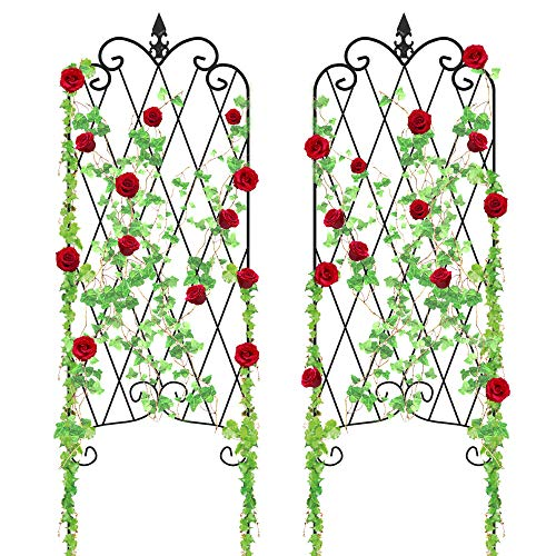 "Amagabeli Garden Trellis for Climbing Plants 46"" x 16"" Rustproof Black Iron Potted Vines Vegetables Flowers Patio Metal Wire Lattices Grid Panels for Ivy Roses Cucumbers Clematis Pots Supports 2 Pack ()"