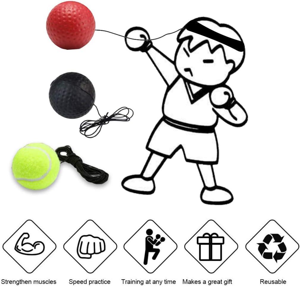 Apofly Boule r/éflexe de Boxe Balle dentra/înement de Boxe Boxe Fight Ball avec Bandeau r/églable pour la Formation R/éactions Rapides Meilleure Coordination