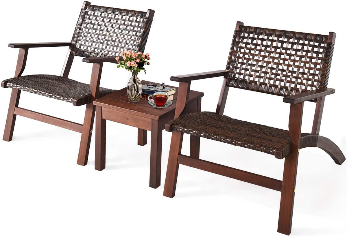 Tangkula 3 PCS Patio Conversation Set, Solid Wood Frame Outdoor Wicker Furniture Set Bistro Set with Coffee Table, Rattan Furniture Set for Backyard Porch Garden Poolside Balcony (Brown)