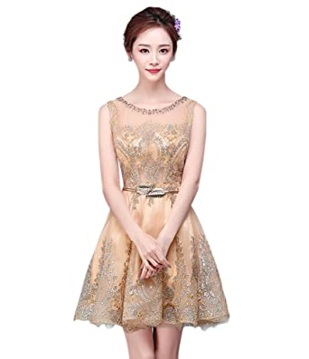 DRASAWEE Womens Short Tulle Homecoming Prom Dress Sequins Gowns Gold US0