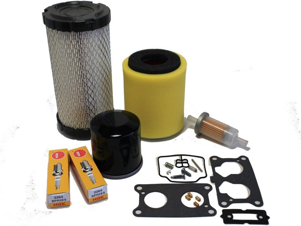 Kawasaki Mule 3000/3010/ 3020 Tune Up Kit (Carburetor Rebuild Kit, Air, Oil, Fuel Filter, Spark Plugs)