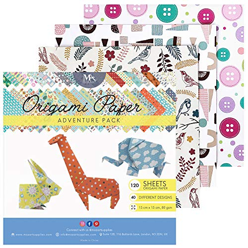 MozArt Supplies Origami Paper Adventure Pack - 120 Sheets - Traditional Japanese Folding Paper - Floral, Animal, Aztec, Geometric - Create Flowers, Birds, Animals - Origami Papers Kids and Adults