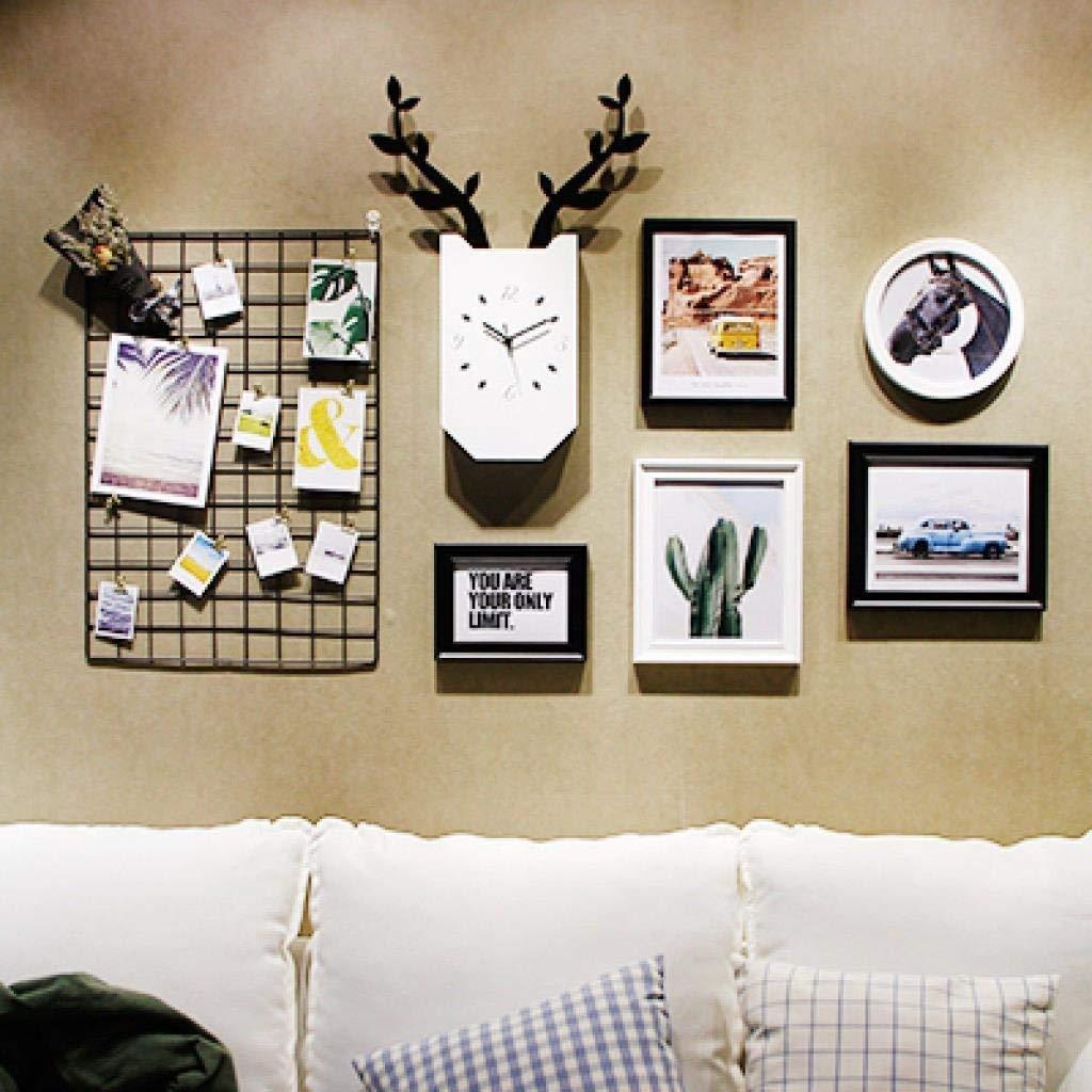 Jjek K Photo Frame Photo Wall Photo Wall Collage Ins Grid Photo Wall Set Living Room Photo Frame Personalized Wall Clock Creative Photo Frame Combination by Jjek (Image #4)