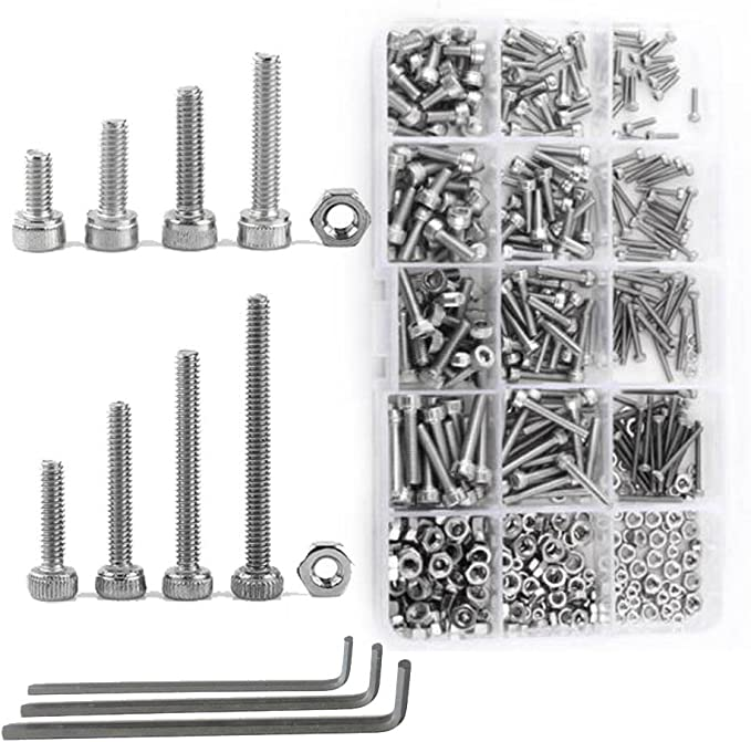 480 pcs Metric Screw Bolts /& Nuts Assortment Kit Hex Stainless Steel M2 M3 M4
