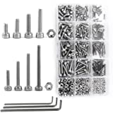 NUZAMAS 480 Pieces M2 M3 M4 304 Stainless Steel Hex Socket Cap Head Bolts and Nuts Assortment & Allen Key Wrench Kit…
