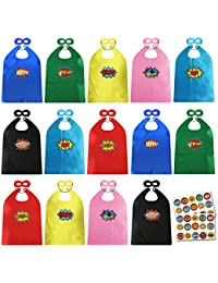 Child Super Hero Capes and Masks Bulk Pack with Stickers for Superhero Themed Birthday Party