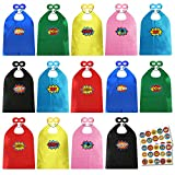 ADJOY Child Super Hero Capes and Masks Bulk Pack with Stickers for Superhero Themed Birthday Party