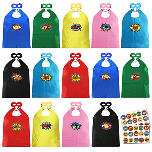 ADJOY Child Super Hero Capes and Masks Bulk Pack with Stickers for Superhero Themed Birthday Party by ADJOY