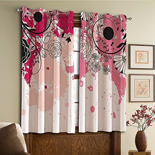 Price comparison product image Custom design curtains / Vintage Lace Window Curtain / Grommet Top Blackout Curtains / Thermal Insulated Curtain For Bedroom And Kitchen-Set of 2 Panels(ush Flower Petals Flourishing Blooms in Watercolor)