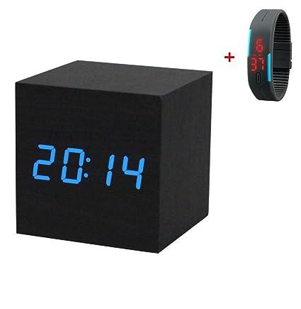 Malloom® Alarma, reloj digital de mesa de madera con toma USB, funciona con