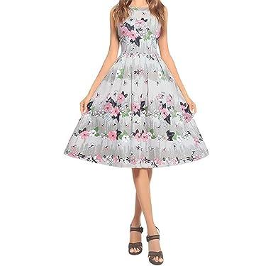 bfc8d2f8313 YUBUKE Women Cotton Long Dresses Button Up Floral Print Flowy Party Maxi  Dress(White Small