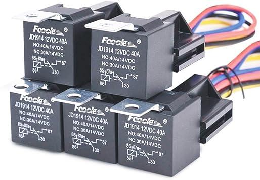 5x 12v 12 Volt Dc 40a Amp Relè /& Presa Spdt 5 Poli 5 Wire per Auto Camion Nuovo