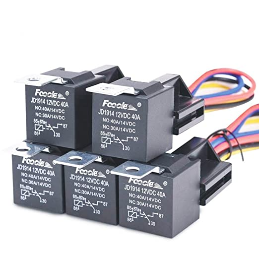 Relé y arnés impermeables de 40/30 Amp, resistente, 12 AWG, 12 V CC, 5 pines, SPDT Bosch, relé de automoción, máx. 14 V CC: Amazon.es: Coche y moto