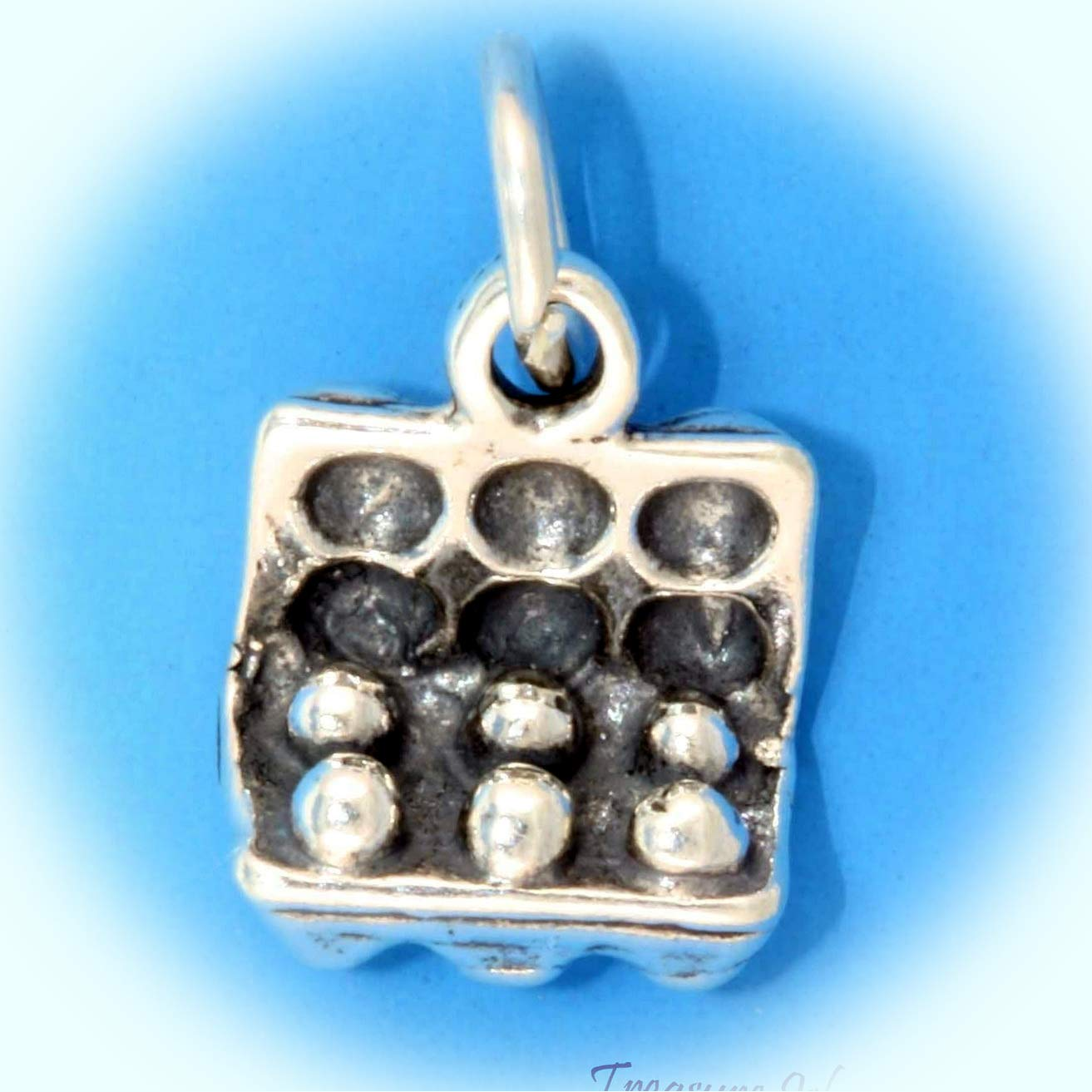 Carton Of Eggs 3D .925 Solid Sterling Silver Charm Kitchen Cooking Baking