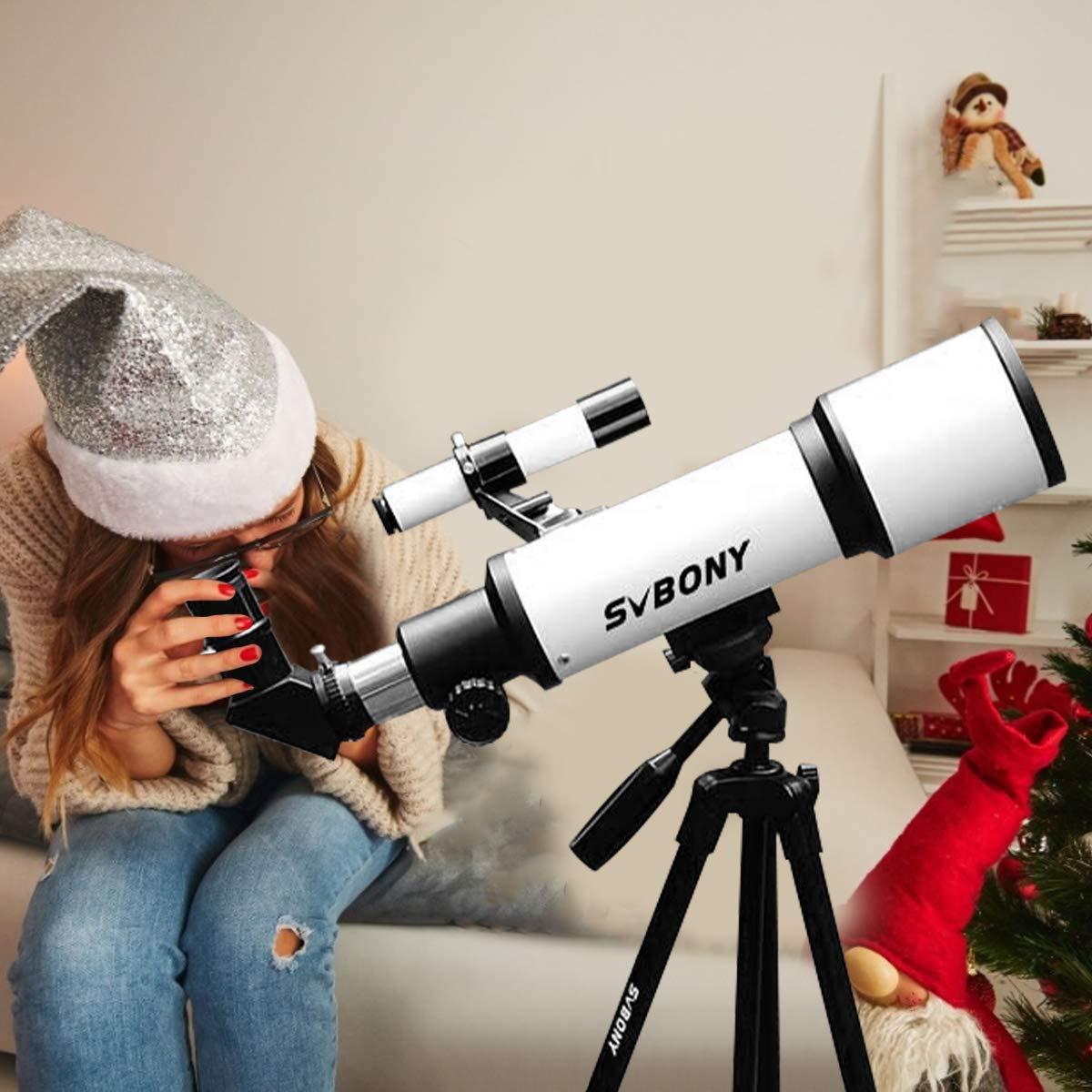 70mm Svbony SV501Telescopio Adultos Principiantes 70//420 Telescopio Astronomico Profesional Adultos Principiantes con Ajustable Tr/ípode Telescopio para Principiantes Adultos