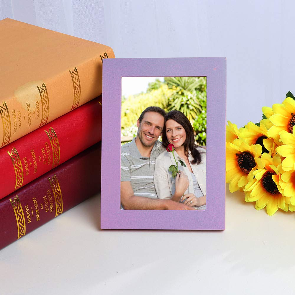 SHJNHAN Home Decor Wooden Picture Frame Wall Mounted Hanging Photo Frame (Purple)